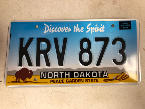 Expired NORTH DAKOTA Peace Garden State License Plate KRV-873 Buffalo Wheat
