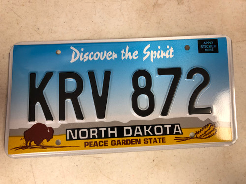 Expired NORTH DAKOTA Peace Garden State License Plate KRV-872 Buffalo Wheat