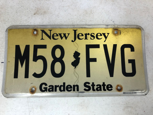 Expired NEW JERSEY Garden State License Plate M58-FVG