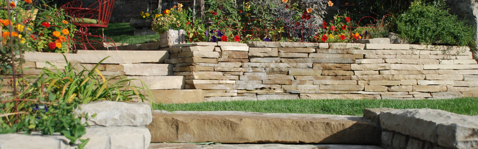 Stairs and rock walls. Image Jerry Anderberg & Associates Landscaping and Nursery