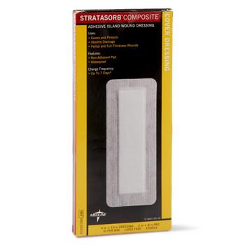 "Stratasorb Composite Adhesive Island Wound Dressings, 4"" x 10"""