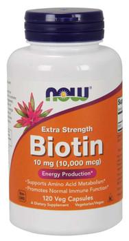 Biotin 10 mg (10,000 mcg), Extra Strength Veg Capsules