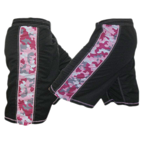 Black and Pink Camouflage MMA Fight Shorts