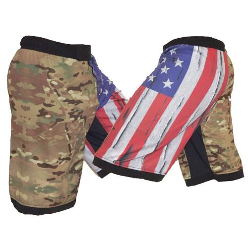 USA Flag & MultiCam Fight Shorts