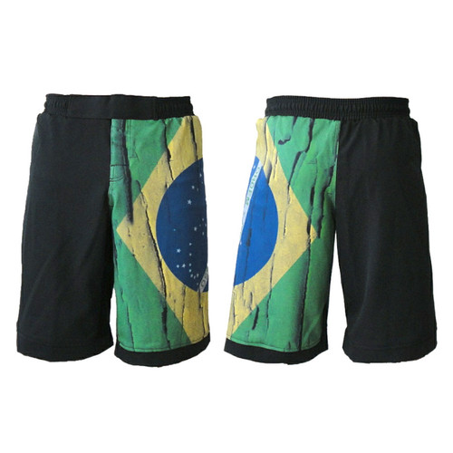 Brazil Distressed Flag MMA Fight Shorts