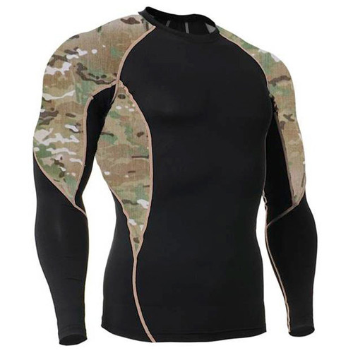 Long Sleeve Side Panel MultiCam Rash Guard MMA Shirt