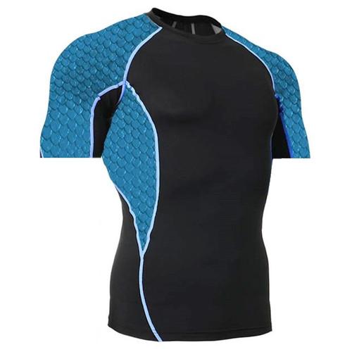 Side Panel Blue Scales Rash Guard MMA Shirt