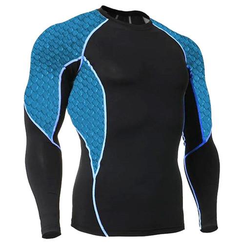 Blue Scales Long Sleeve Rash Guard MMA Shirt