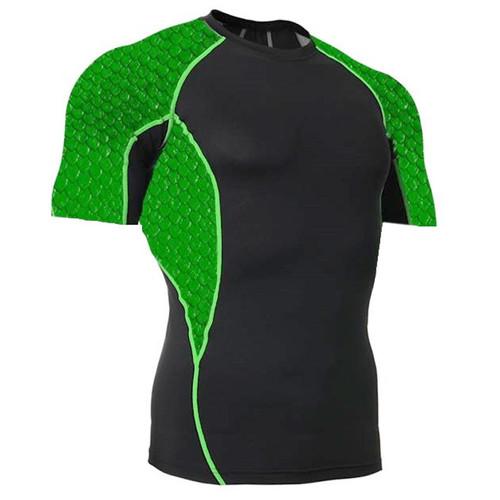 Side Panel Green Scales Rash Guard MMA Shirt