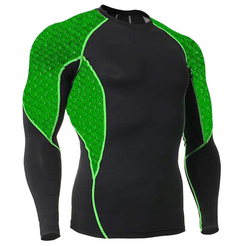Green Scales Long Sleeve Rash Guard MMA Shirt