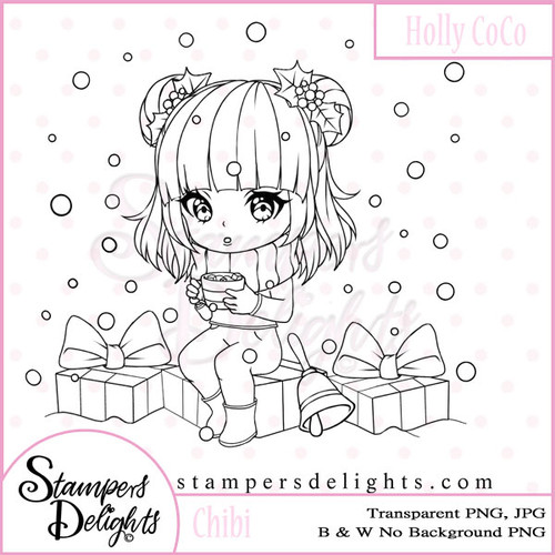 This Chibi is just so sweet and makes such a wonderful winter or festive scene. Digital Download 1 Design 1 Sentiments 5 Digital Stamps JPG & PNG formats 300 dpi © 2009 Stampers Delights - Designs by Janice Cullen