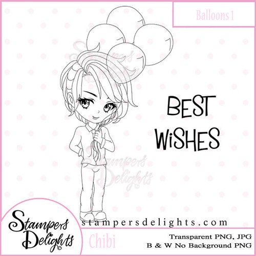 This Chibi with his balloons would be wonderful for Birthday, Get Well, Valentines and soooo much more! Digital Download 2 Design 1 Sentiments 8 Digital Stamps JPG & PNG formats 300 dpi © 2009 Stampers Delights - Designs by Janice Cullen
