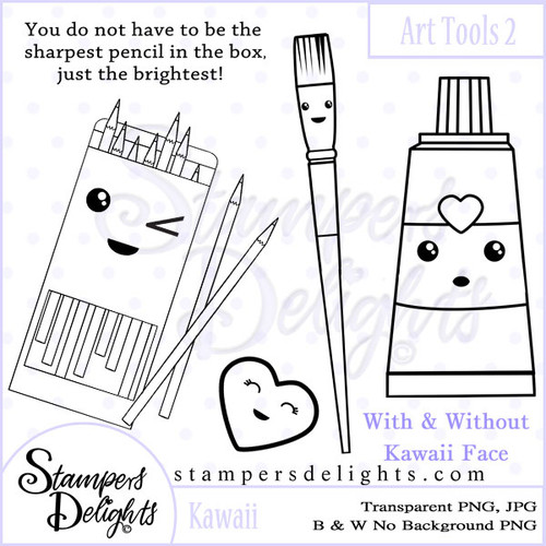 These Craft tools will make some wonderful additions to other stamps or can stand alone making some wonderful projects. You get 2 versions, with/without Kawaii Face. •	8 Design •	1 Sentiments •	26 Digital Stamps •	JPG & PNG formats •	300 dpi © 2009 Stampers Delights - Designs by Janice Cullen