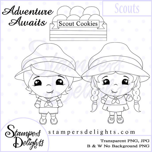 This image would be fabulous for you little scouts or adventurers. Digital Download 4 Design 1 Sentiments 14 Digital Stamps JPG & PNG formats 300 dpi © 2009 Stampers Delights - Designs by Janice Cullen