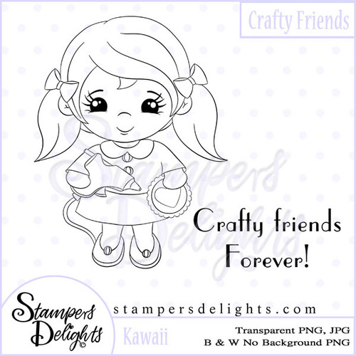 This image would be fabulous for your crafty themed projects. Digital Download 1 Design 1 Sentiments 5 Digital Stamps JPG & PNG formats 300 dpi © 2009 Stampers Delights - Designs by Janice Cullen