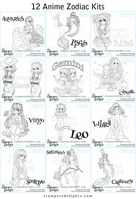 This HUGE Zodiac Kit contains ALL 12 Anime Kits which each have loads of fun creative elements to create that perfect tailored project put also versions to use ALL year round! JPG & PNG formats 300 dpi © 2009 Stampers Delights - Designs by Janice Cullen