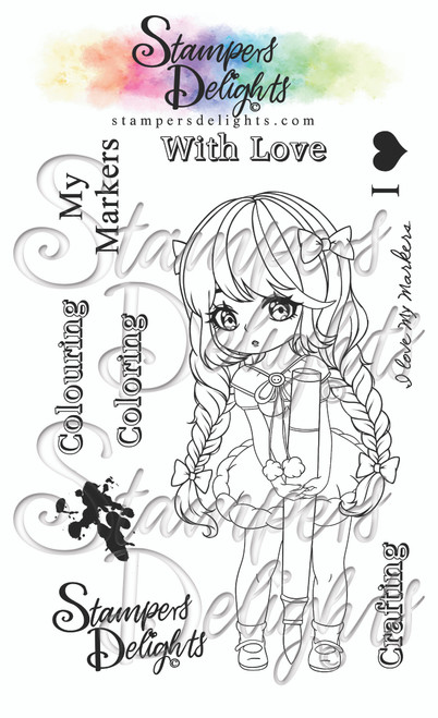 """A6 photo polymer stamp set. Contains 9 stamps 4 x 6""""/A6 set Character is approximately 5"""" You Can Sell You Hand made Creations! ANGEL POLICY ONLY --------------------------------- © 2009 Stampers Delights - Designs by Janice Cullen"""