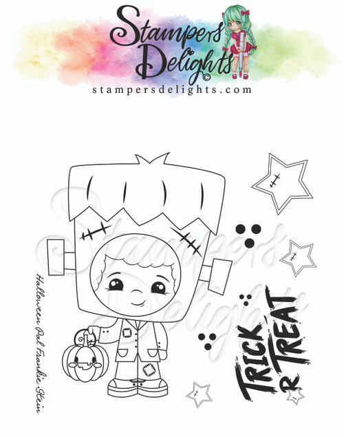 """Kawaii Halloween Pal Frankie Stein Limited Addition Clear Stamps 4X4"""""""