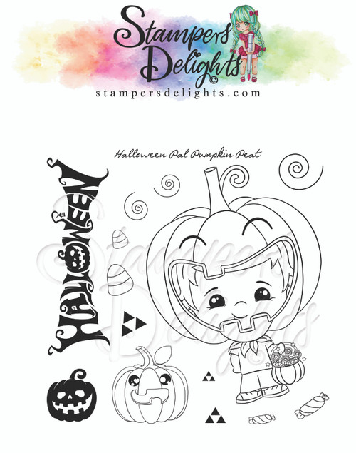 "Kawaii Halloween Pal Pumpkin Pete Limited Addition Clear Stamps 4X4"""