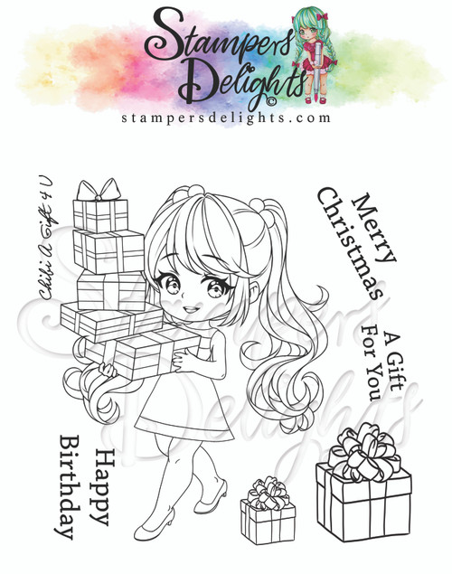 """Chibi A Gift 4 U Limited Addition Clear Stamps 4X4"""""""