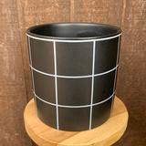 Black and White Windowpane Cylinder Planter