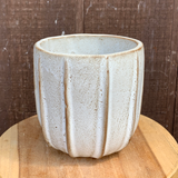 Cream and Brown Ribbed Planter