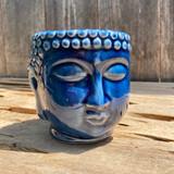 Blue Crackle Glaze Buddha Head Planter Medium