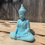 Opalescent Baby Blue Flower of Life Meditation Buddha Statue