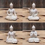 Antiqued Cream Small Meditation Buddha Statues