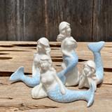 Mini White & Blue Porcelain Mermaid Statues