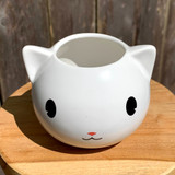 White Cartoon Kitty Planter