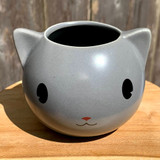 Grey Cartoon Kitty Planter