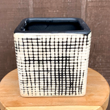 Black and White Checkered Cube Planter