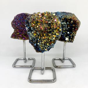 Titanium Aura Quartz Cluster on Stand