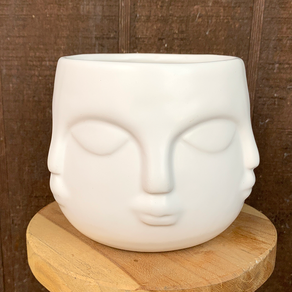 """White six-faced planter 4""""x 4"""""""
