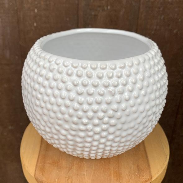 Round white studded planter