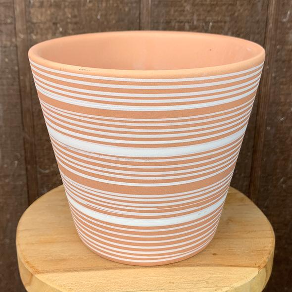"""terra cotta white stripe planter 4.5"""" x  4"""""""