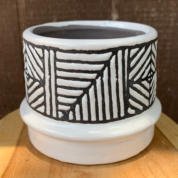 Aztec-Inspired Patterned Planter for sale at East Austin Succulents