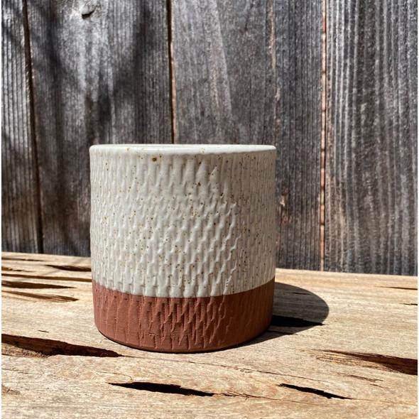 Cream Speckled Cylinder Planter