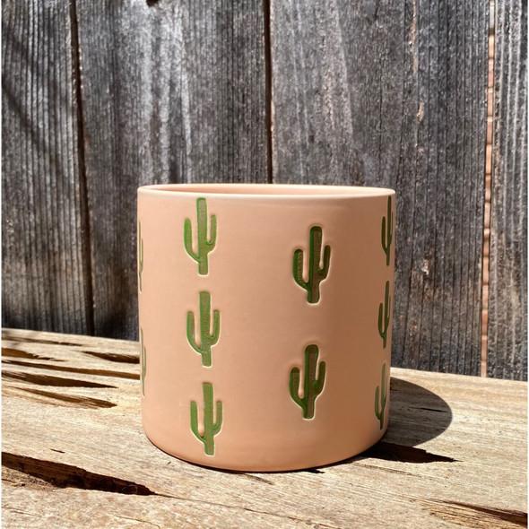 Peachy Saguaro Planter