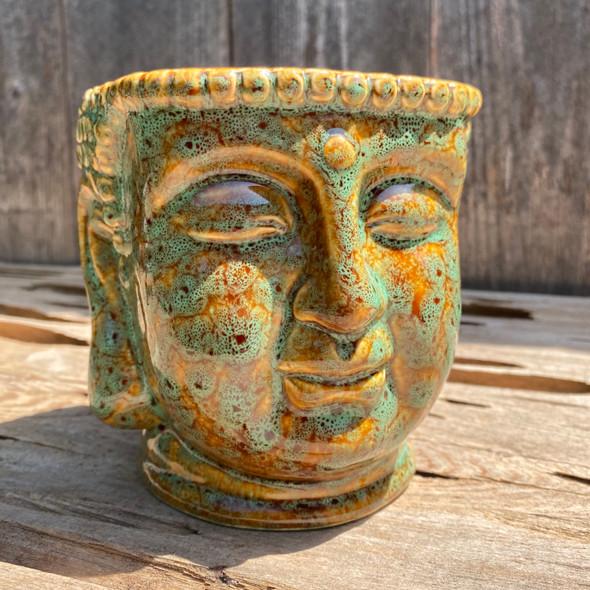 Green Buddha Head Planter Large