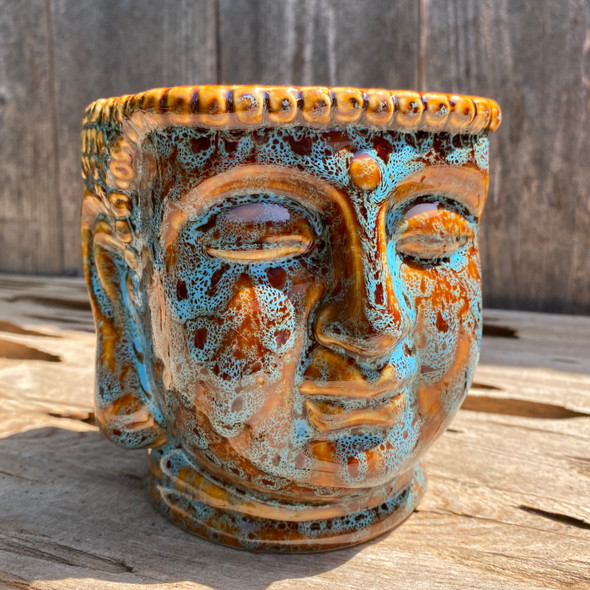 Blue Buddha Head Planter Large