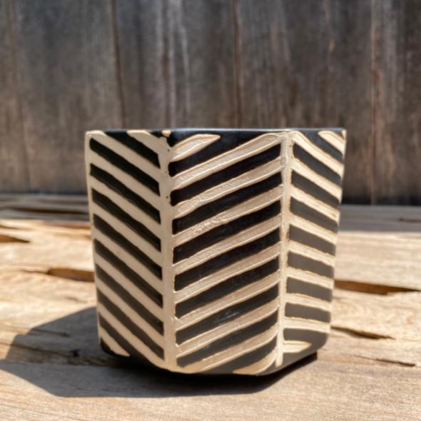 Black & Cream Striped Planter