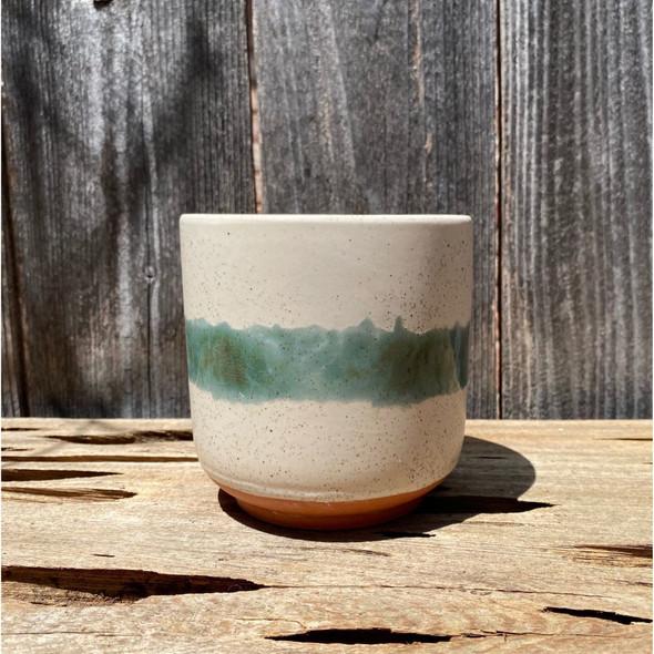 Aqua Stripe Terracotta Bottom Planter [mini]