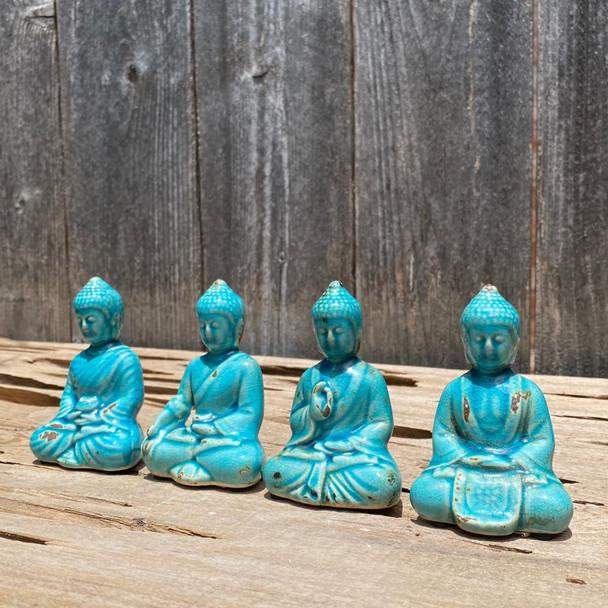 Azure Blue Small Meditation Buddha Statues
