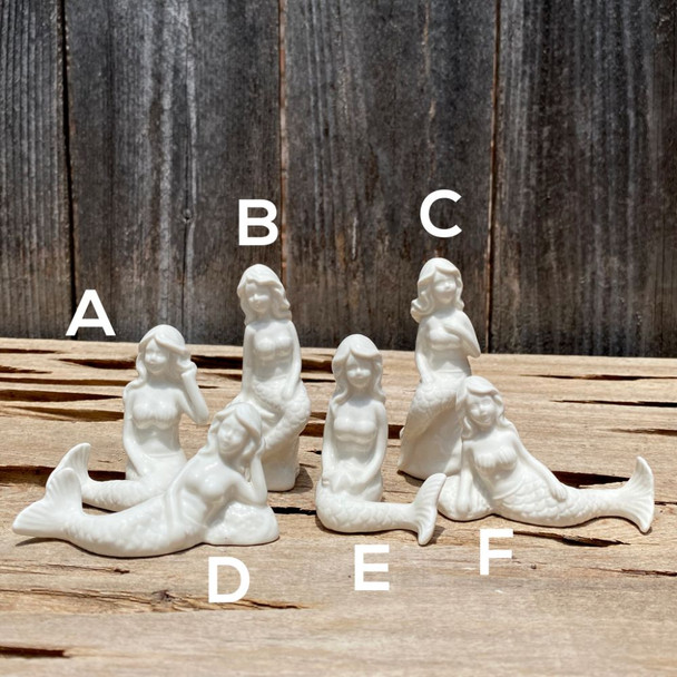 Mini White Porcelain Mermaid Statues
