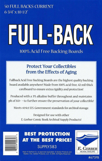 E.Gerber 50 Pack Full Backs Current Size Comic Back Boards