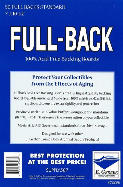 E.Gerber 50 Pack Full Backs Standard Size Comic Back Boards