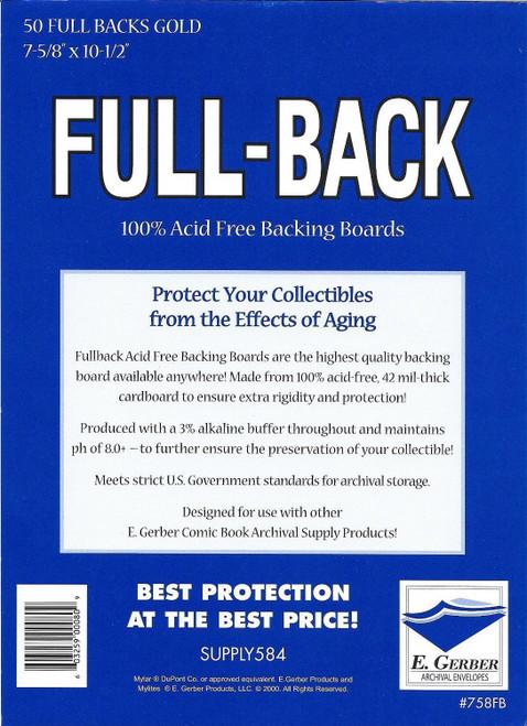 E.Gerber 50 Pack Full Backs Gold Size Comic Back Boards