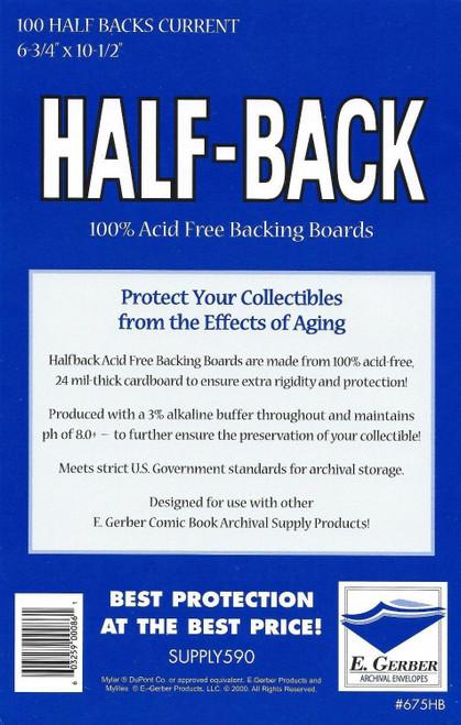 E.Gerber 100 Pack Half-Backs Current Comic Size Comic Back Boards